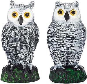 Bird Blinder Scarecrow Fake Owl Decoys - Pest Repellent Garden Protectors – (Small) (Set of 2)