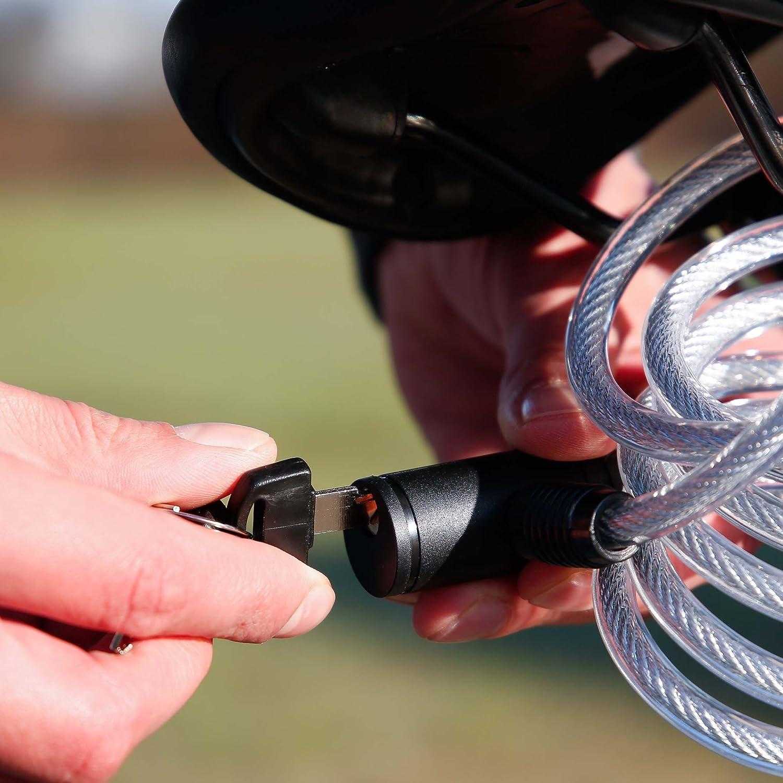 Blu staffa di montaggio inclusa con rivestimento in PVC antigraffio Lucchetto per bicicletta ICOCOPRO 120 cm 120 cm con cilindro antifurto chiavi di sicurezza a spirale