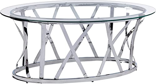 Simmons Upholstery Casegoods Mtl Glass CKTL TBL Chrome Oval Cocktail Table