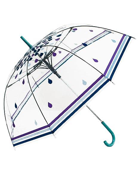 La lluvia cae el paraguas transparente del palillo
