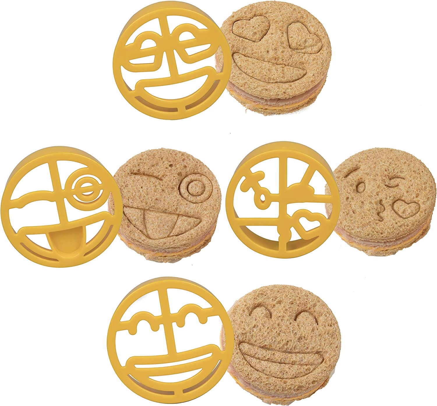 Emoji Sandwich Cutters 4 pk - Fun Bread, Food & Cookie Cutters w Emoji Designs - Great for Baking, Cooking & Kids Lunch or Bento Box and BPA Free