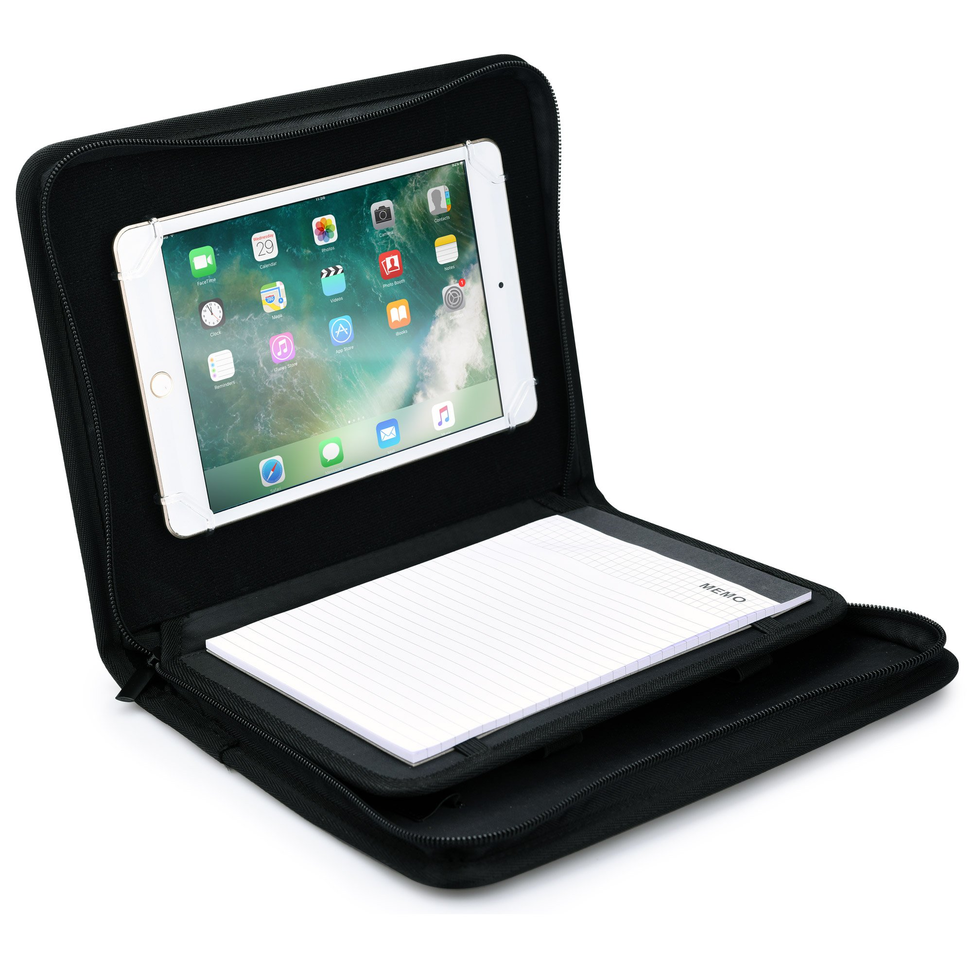 COOPER BIZMATE Padfolio Organizer case compatible with Apple iPad Mini 4 3 2 1 | Business Executive Tablet Portfolio with A5 Notepad Paper Pad | Pen Holder, Card Pockets (Black)