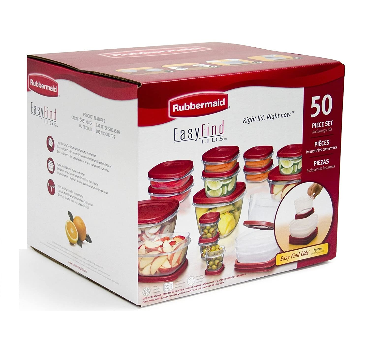 Amazon.com Rubbermaid Easy Find Lids Food Storage Containers Racer Red 50-Piece Set B002RSO2PW Kitchen Storage And Organization Product Accessories ...  sc 1 st  Amazon.com & Amazon.com: Rubbermaid Easy Find Lids Food Storage Containers Racer ...