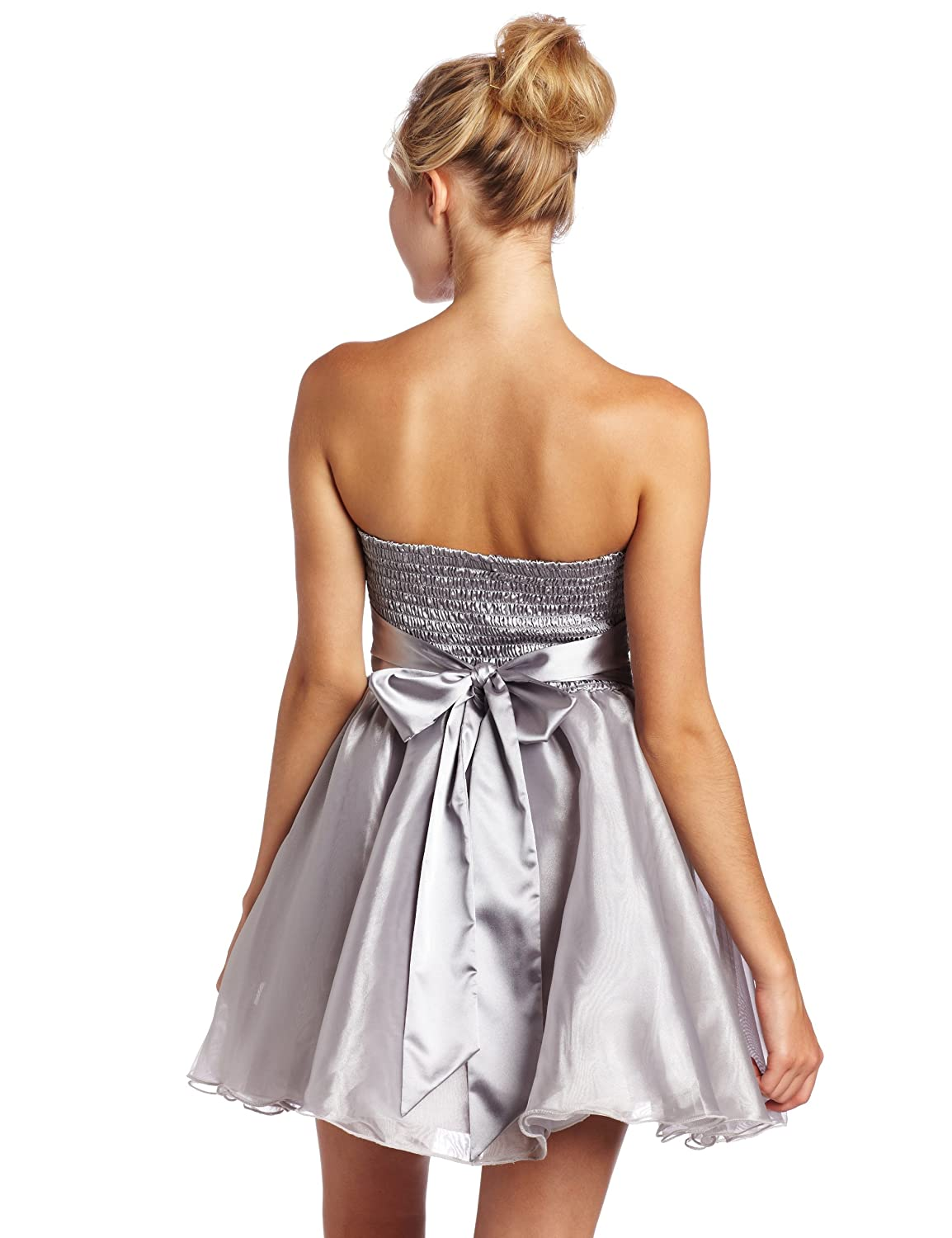 best supplier official images perfect quality Amazon.com: XOXO Juniors Strapless Party Dress with Bow ...