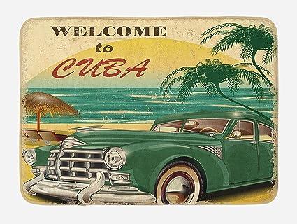Coco la retro tappetino da bagno nostalgico welcome to cuba artsy