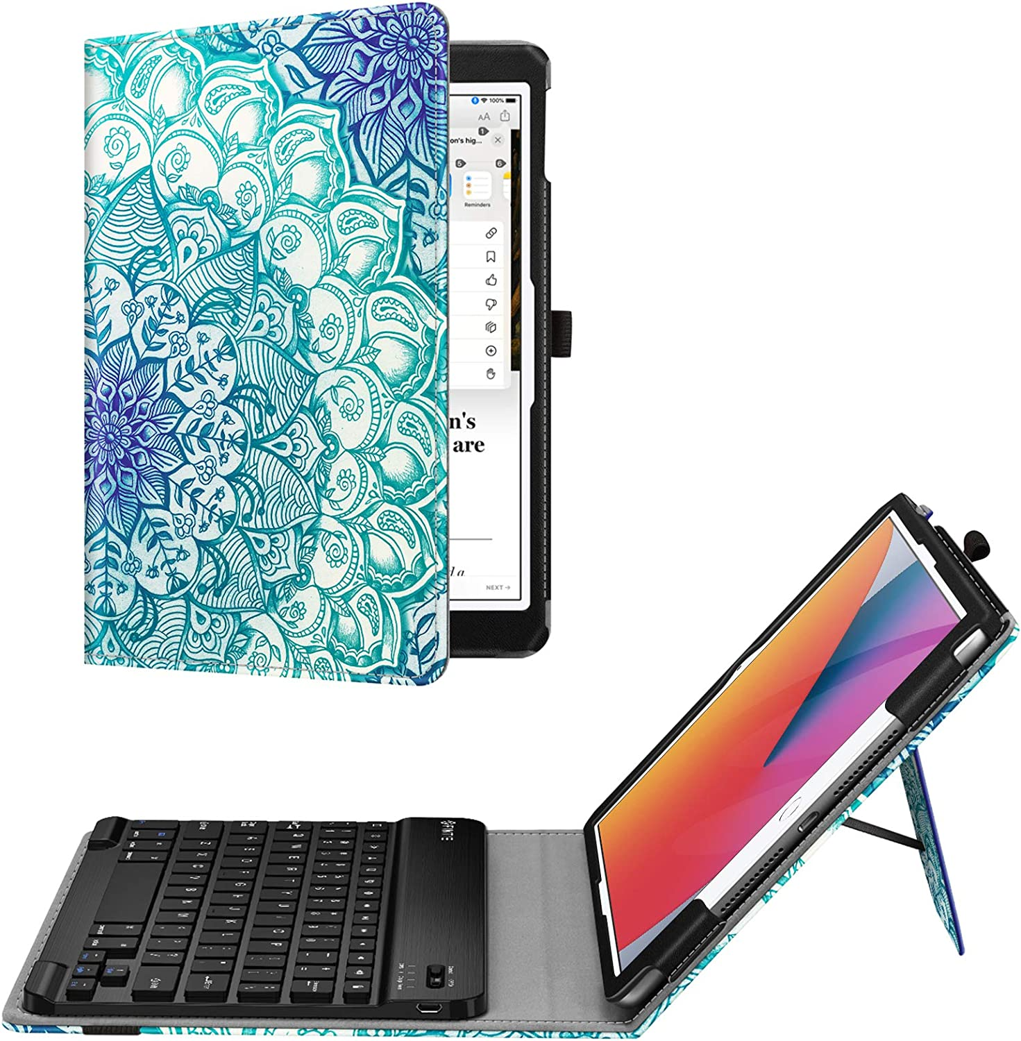 Fintie Keyboard Case for New iPad 8th Gen (2020) / 7th Generation (2019) 10.2 Inch - Premium PU Leather Folio Smart Stand Back Cover with Removable Wireless Bluetooth Keyboard, Emerald Illusions