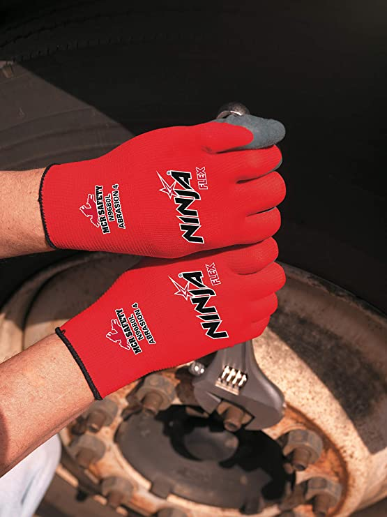 Memphis Glove N9680XL Ninja Flex Nylon Shell Gloves with Latex Dip Palm and Fingertips, Gray/Red, X-Large, 1-Pair