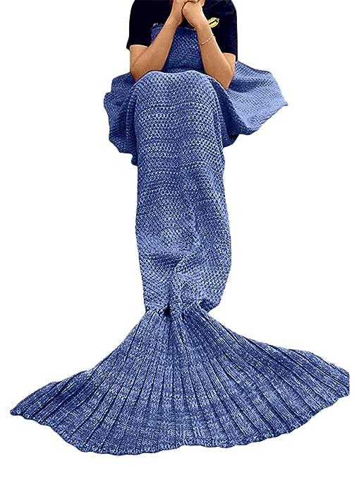 TBOOM Manta de Punto Hecha a Mano con Cola de Sirena, Manta de sofá para Sala de Estar, Manta de Sirena para Adultos y niños, Azul Vaquero, 180 * 90cm ...