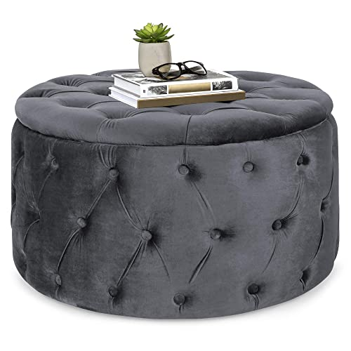 Best Choice Products 29.5in Round Modern Button-Tufted Velvet Ottoman Footrest Stool Accent Furniture – Dark Gray