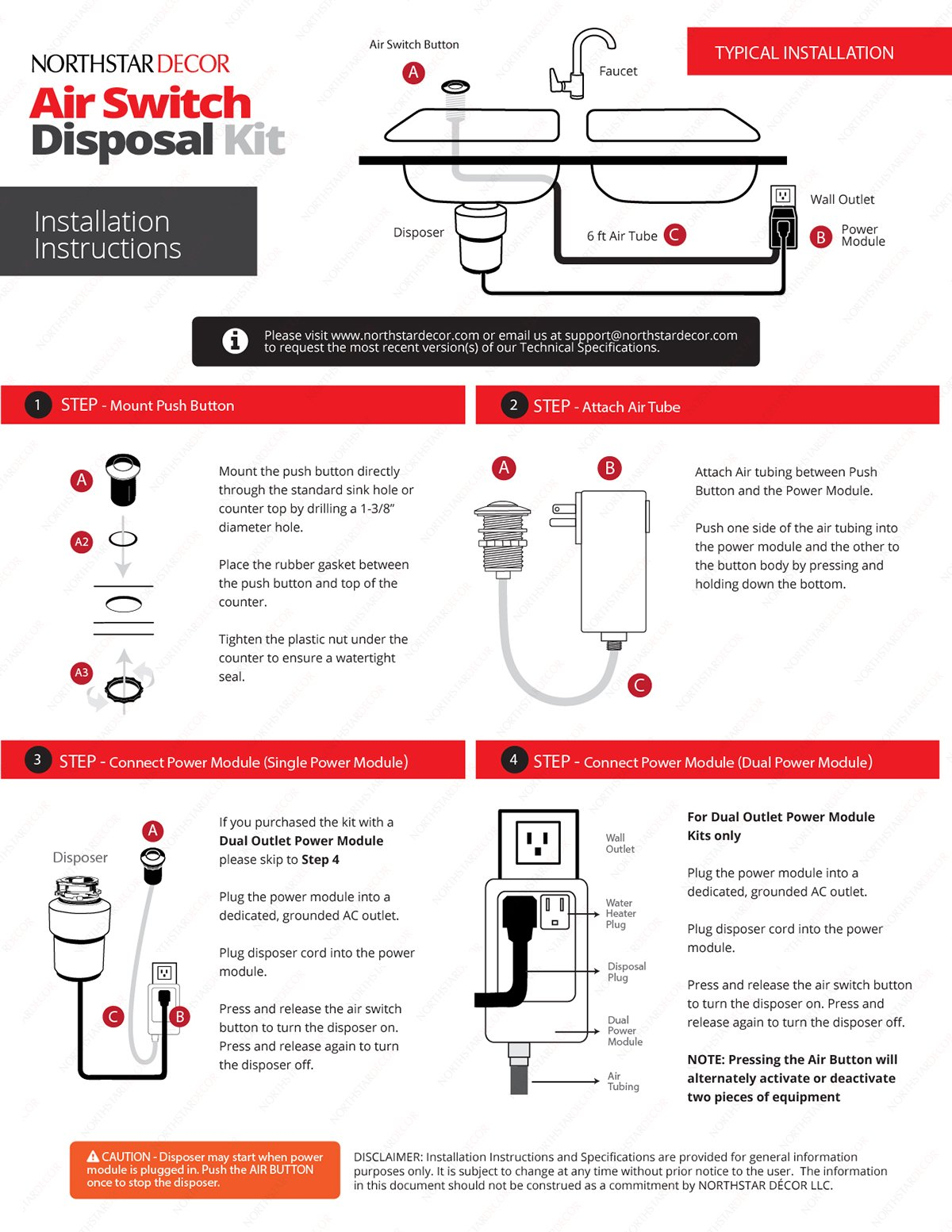 Single Outlet Garbage Disposal Air Switch Power Module with Grounded Outlet. (6 Ft Long Air Tube Included) by NORTHSTAR DECOR ASDA-1 by NORTHSTAR DECOR (Image #4)