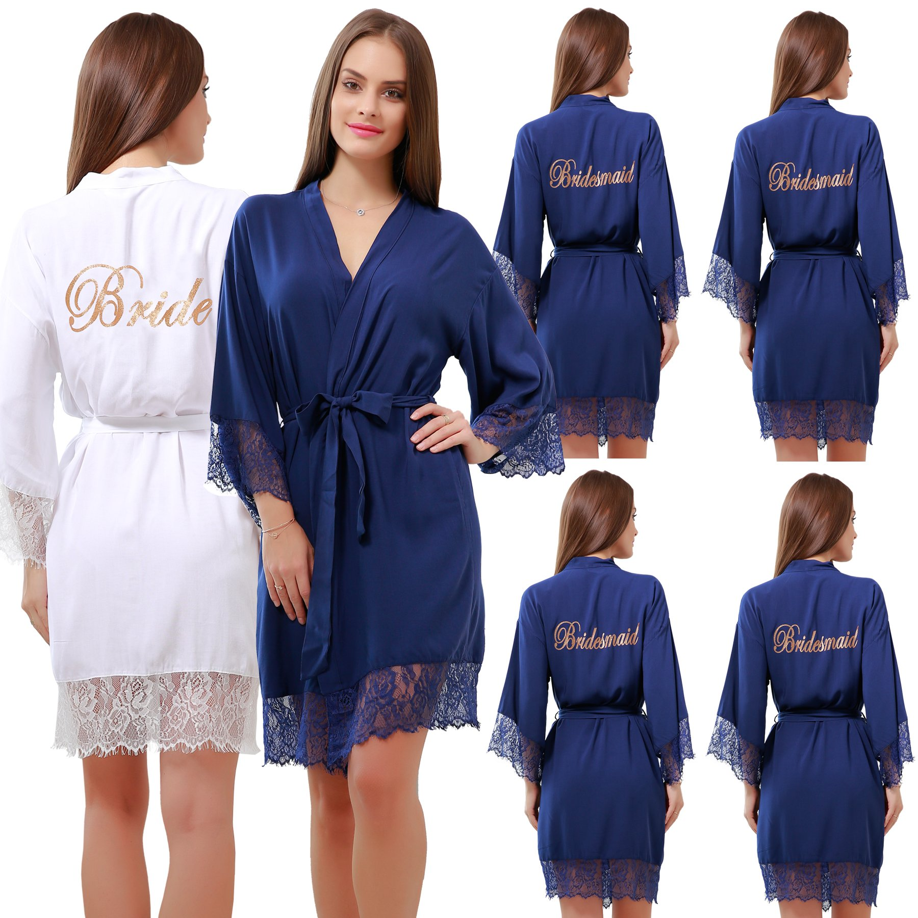 GoldOath Set Of 6 Women's Cotton Kimono Robes For Wedding Party Gifts For Bride and Bridesmaid With Lace Trim