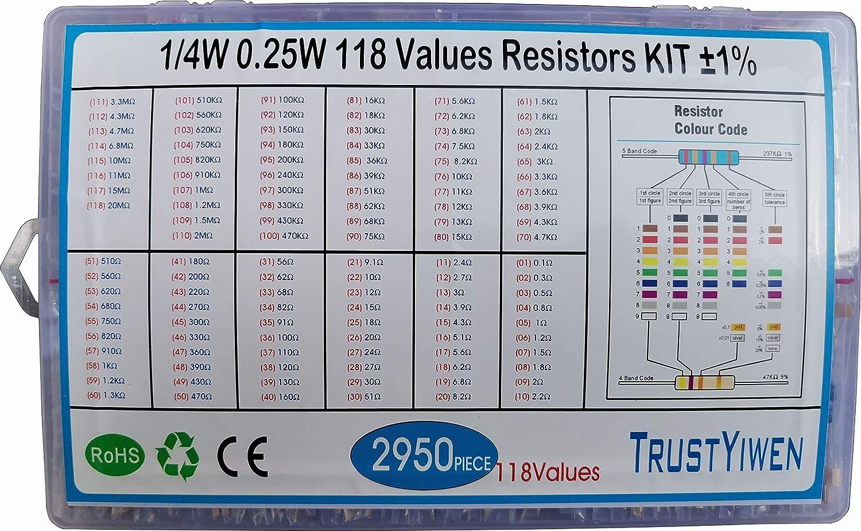 TRUSTYIWE 118Values 2950pcs 1//4w 0.25w 1/% 0.1-20M ohms resistors KIT Easy to find Box