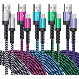 USB C Cable, SIXSIM 5Pack 6FT USB C to USB A Braided Fast Charging Phone Charger Cord Type C Cable Compatible Samsung…