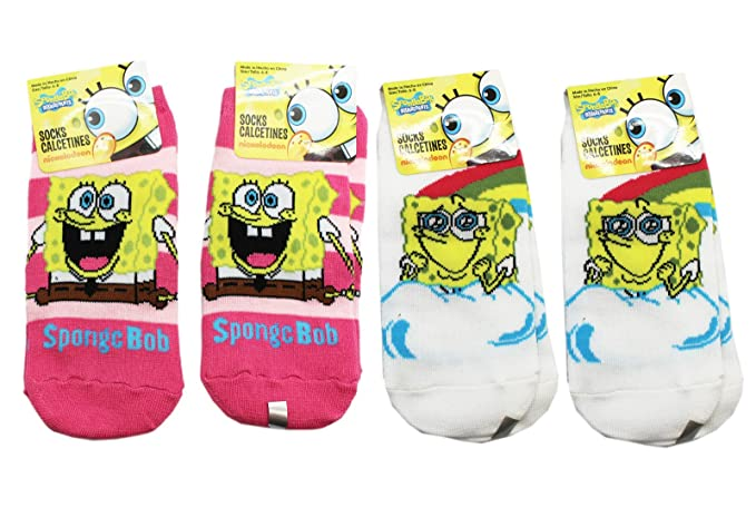 Spongebob Squarepants Assorted Color and Design Kids Socks (3 Pairs, Size 6-8