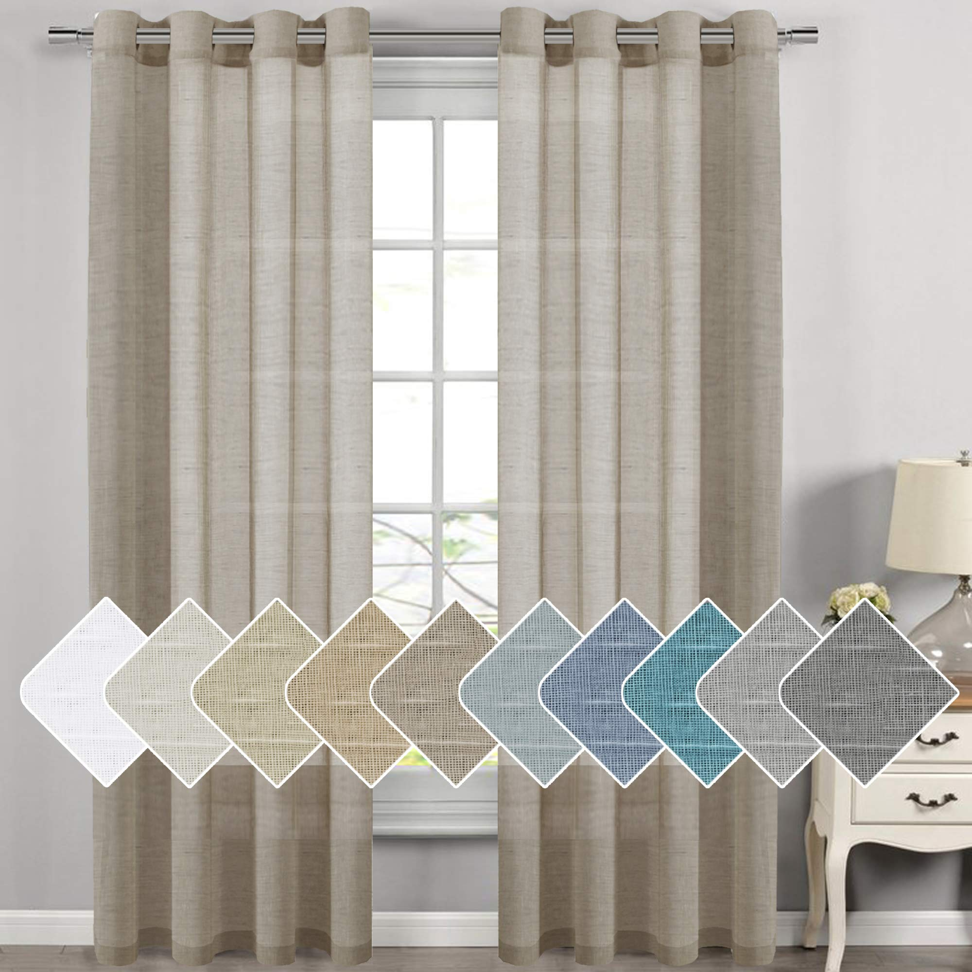 H.VERSAILTEX Linen Sheer Curtains - 2 Panels - Nickel Grommet Linen Curtains for Dining Room/Sliding Glass Door Extra Long Linen Curtains Sheer (52 inch by 108 inch Length,Taupe) by H.VERSAILTEX