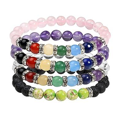 Milakoo 4Pcs 8mm Lava Rock Bracelet for Men Women Yoga Healing Reiki Natural Stone 7 Chakra Bracelet