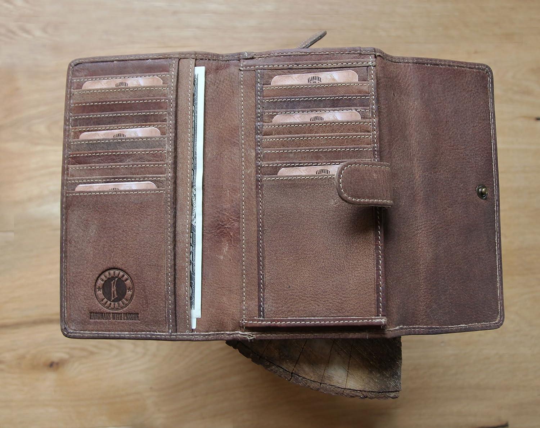 portefeuille haute qualit/é pour femme Klondike 1896 Grand porte-monnaie Donna en cuir v/éritable mid brown marron