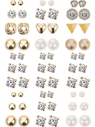 c34a76527 30 Pairs Stud Earrings Multiple Earring Fake Crystal Pearl Earring Set  (Gold)
