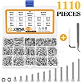 VIGRUE 1110PCS Stainless Steel M3 Socket Head Cap Screws and Nuts Flat Washer Assortment Kit with Allen Wrench and Tip…