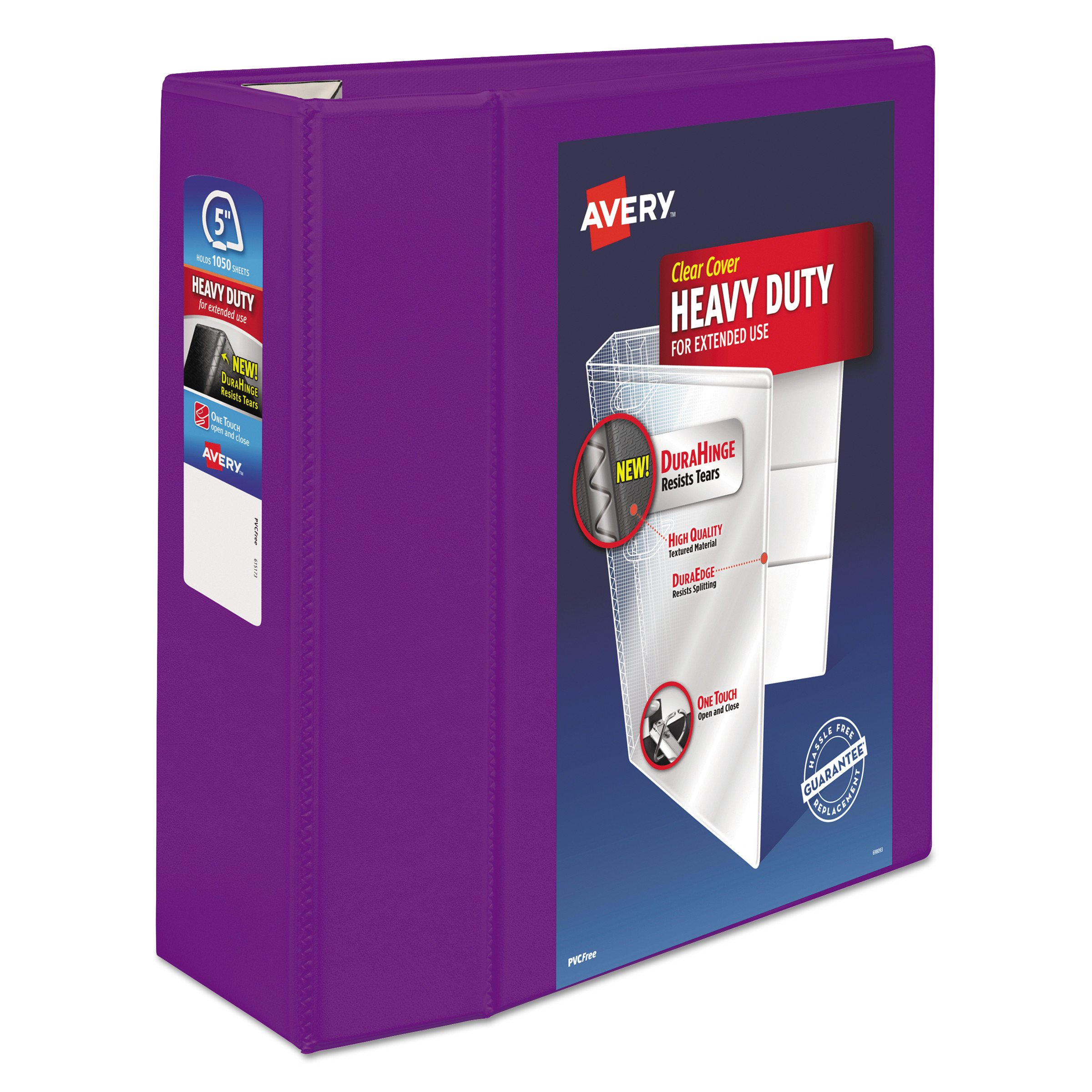 Avery Heavy Duty View 3 Ring Binder,5''  One Touch EZD Ring, Holds 8.5'' x 11'' Paper, 1 Purple Binder (79816) by AVERY