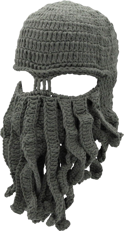 Oidon Octopus Winter Warm Knitted Wool Ski Face Mask Knit Beard Squid Beanie Hat Cap
