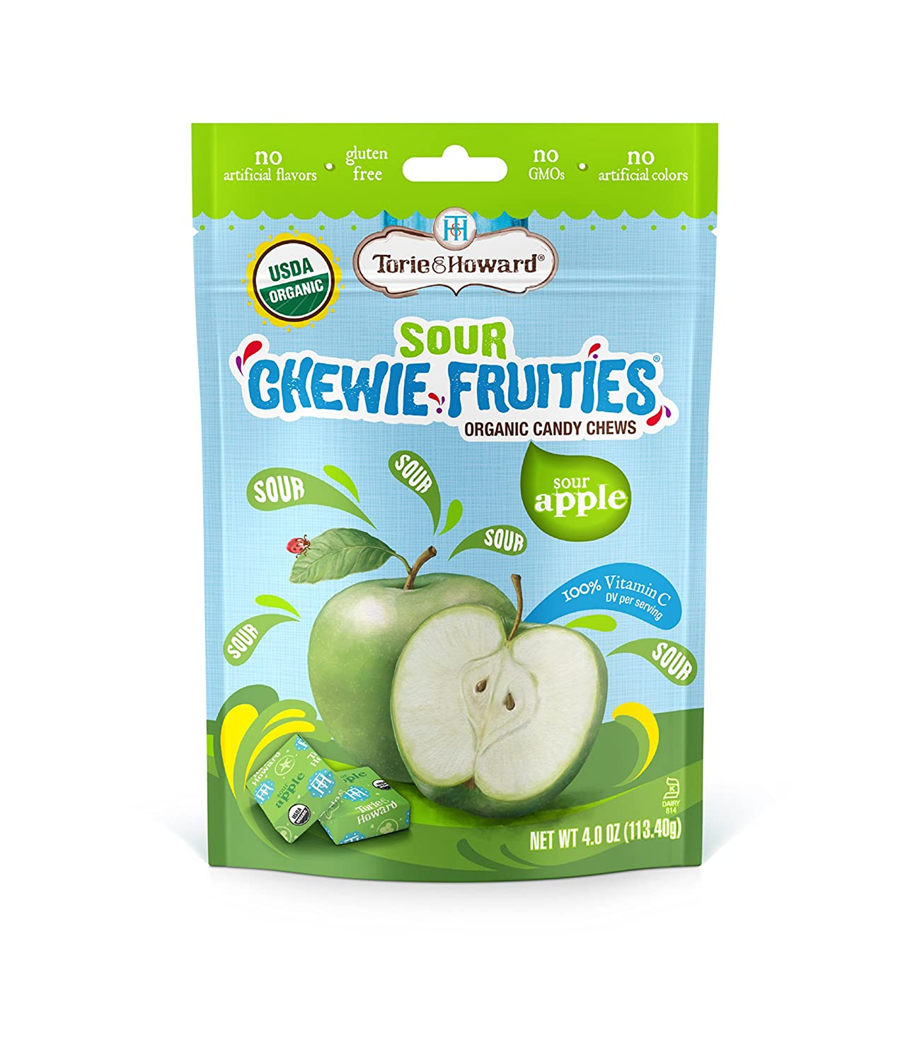 Torie and Howard Chewie Fruities, Sour Apple, 4 Ounce