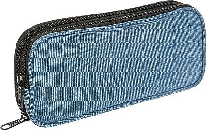 Iden Office 20040 estuche de lápices, estuche rectangular, 2 compartimentos, azul: Amazon.es: Oficina y papelería