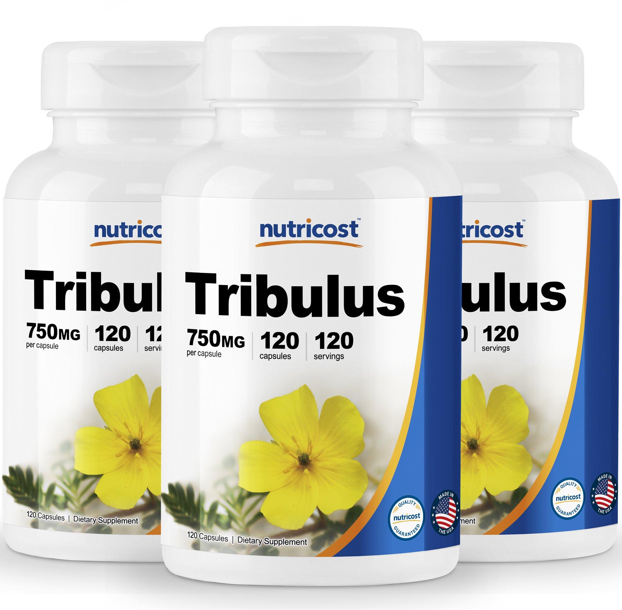 Nutricost Tribulus Terrestris Extract 750mg, 120 Capsules (3 Bottles) - Testosterone, Strength, Libido