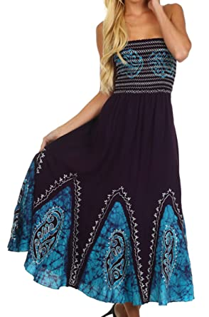269f32dc76 Sakkas 34 Batik Print Embroidered Sleeveless Smocked Tube Top Dress-  Eggplant   Turquoise - One Size  Amazon.co.uk  Clothing