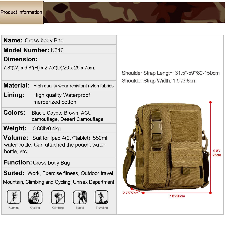 Huntvp/® Borsa a Tracolla Uomo Sportivo Borsetta Militare per Campeggio Escursionismo Ciclismo Viaggio Trekking Porta Smartphone Chiave Denaro marrone