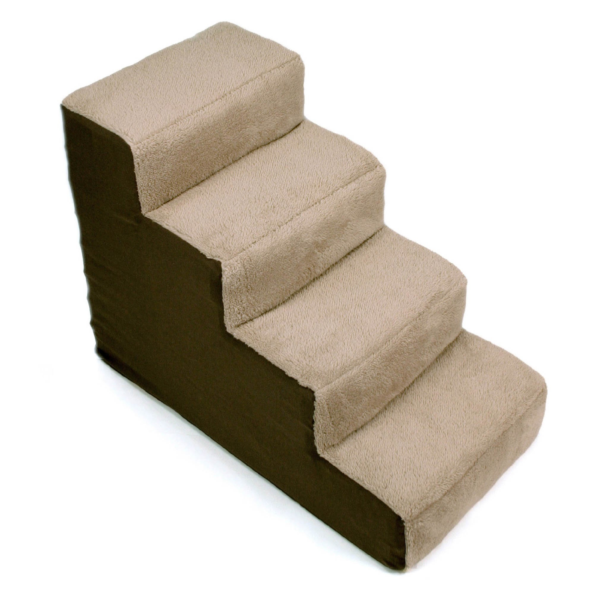Up Pup 4-Step Dog Stairs, 28 IN, Brown/Tan