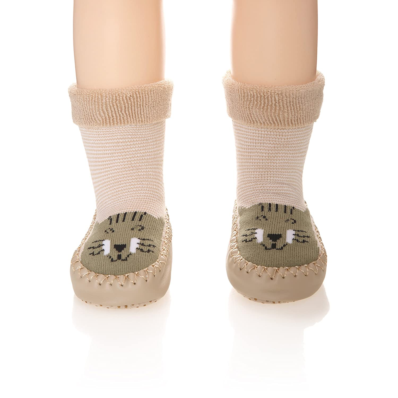 Baby Boy Girl Animal Moccasins Non-Skid Indoor Slipper Winter Warm Shoes Socks