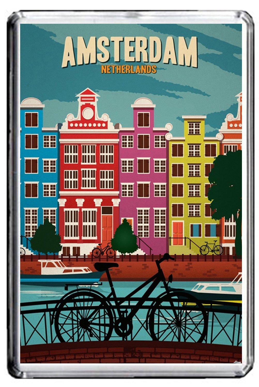 B006 AMSTERDAM AIMANT POUR LE FRIGO NETHERLANDS VINTAGE TRAVEL PHOTO REFRIGERATOR MAGNET