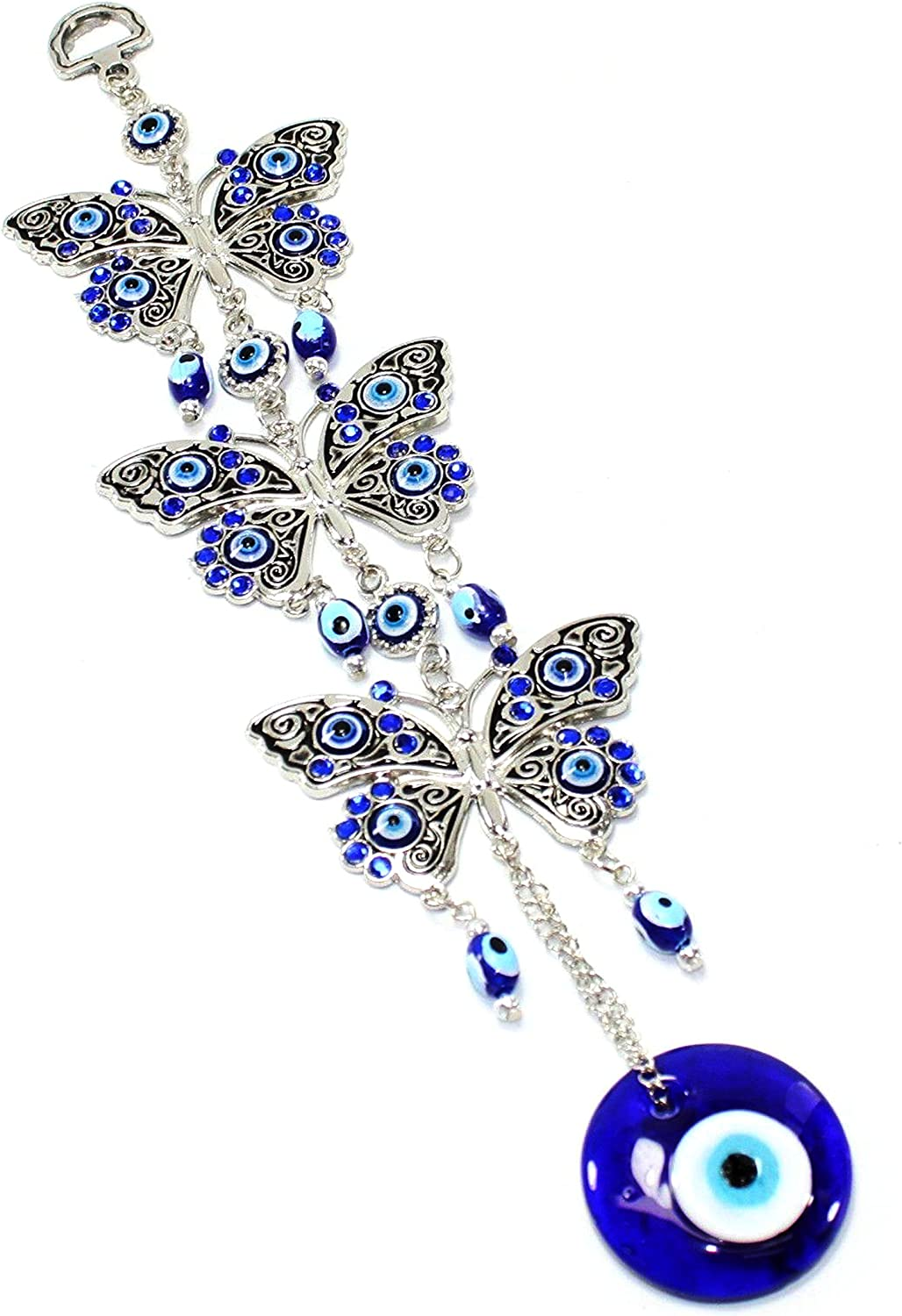 Turkish Blue Evil Eye (Nazar) 3 Butterflies Amulet Wall Hanging Home Decor Protection Blessing Housewarming Birthday Gift