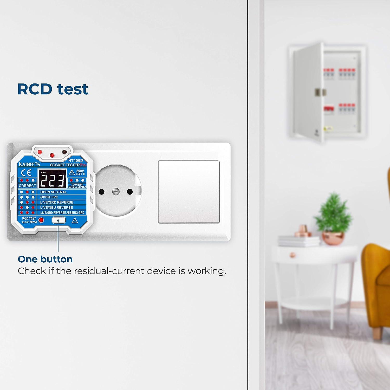 CAT II 300V KAIWEETS/® Probador de enchufe con LCD pantalla que medir voltaje examinar circuito y RCD 7 tipo de indicaci/ón para uso dom/éstico y profesional Comprobador de enchufe de 48 a 250V