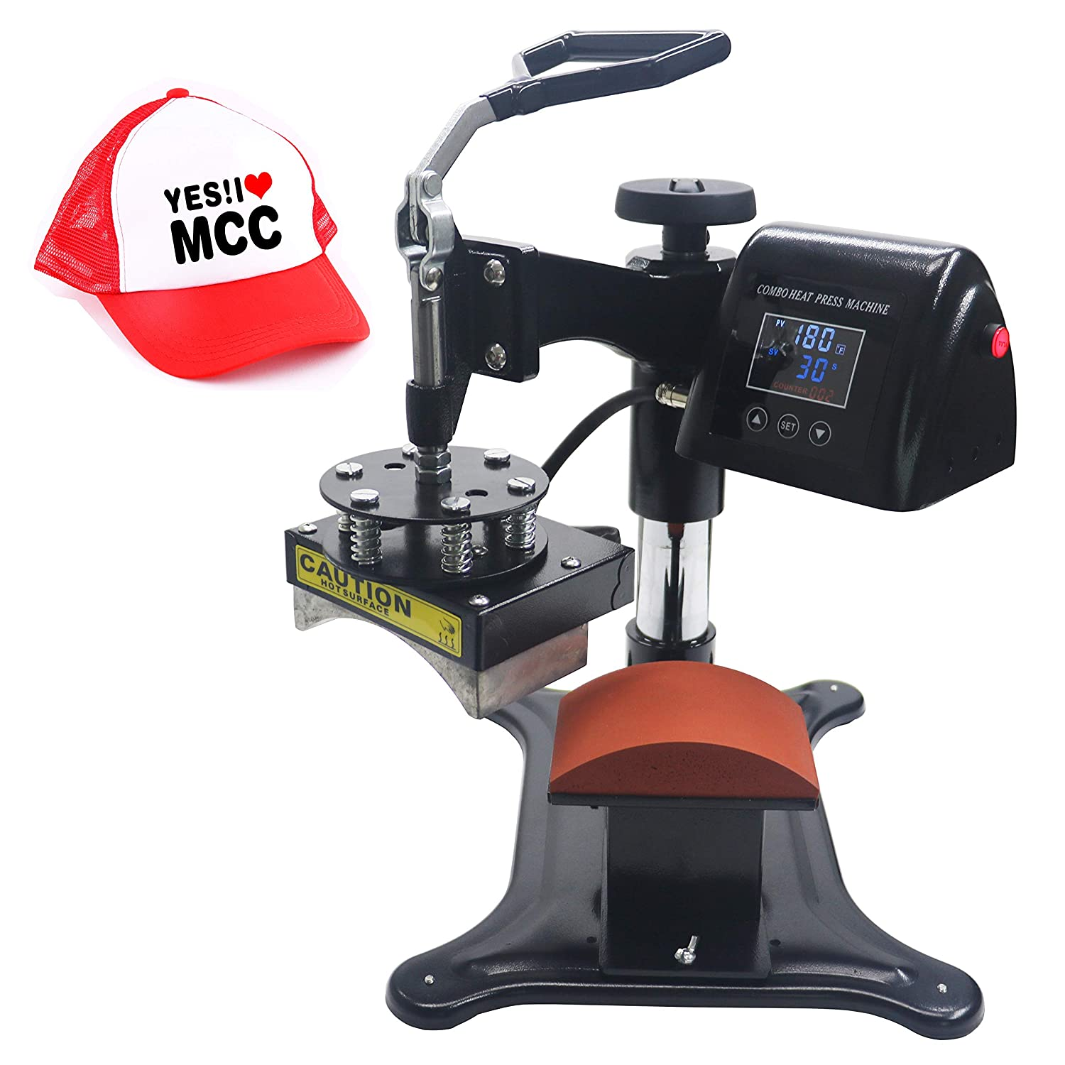 5 in 1 RoyalPress 5 in 1 Professional 13 x 18 Color LED 360-degree Rotation Sublimation Multifunction Combo Heat Press Machine Hat//Mug//Plate//Cap//T-Shirt Black