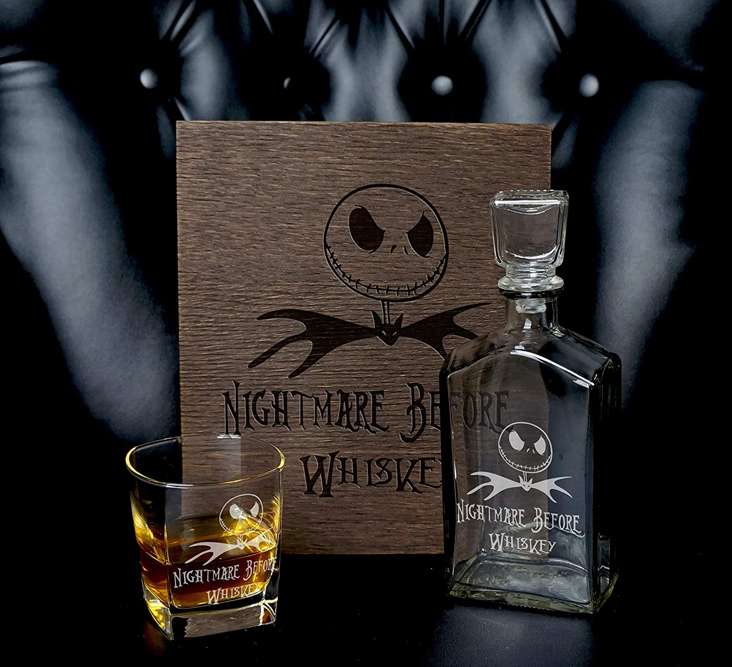 MosesMat41 Personalized Whiskey Gift Personalized Wood Sign The Nightmare Before Christmas Wine Sign.