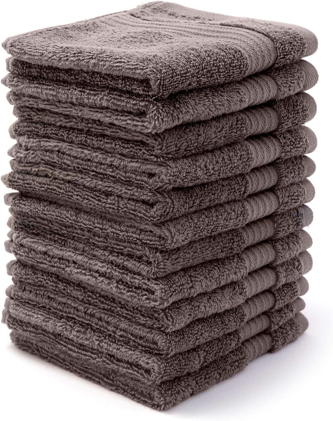 """Bliss Towels 12 Pack Wash Cloth Set - 12"""" x 12"""" - Wash Cloth - 650 GSM - Soft Combed Cotton, Absorbent (Grey)"""