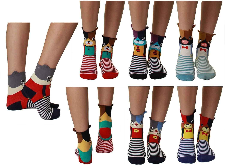 Animal GILBIN'S Womens Girls Cute Casual Comfortable Cotton Animal Print Novelty Socks (6 Pack)