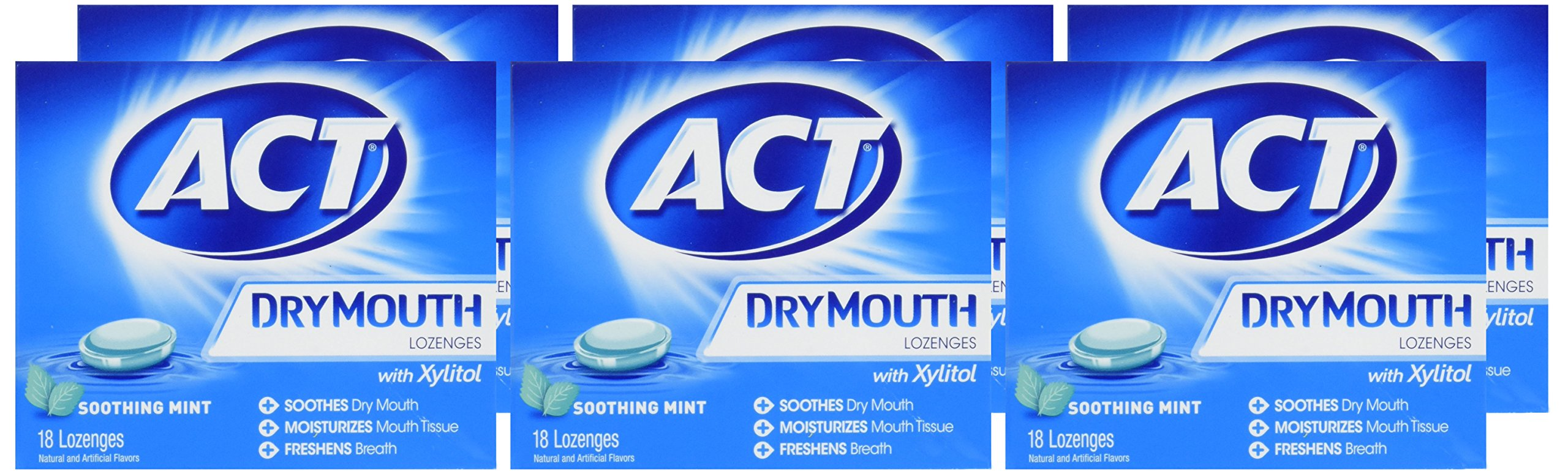 ACT Total Care, Dry Mouth Lozenges, 18 Count (Pack of 6), Soothing Mint Flavored Lozenges with Xylitol Help Moisturize Mouth Tissue to Sooth and Relieve Discomfort from Dry Mouth, Freshens Breath by ACT (Image #3)