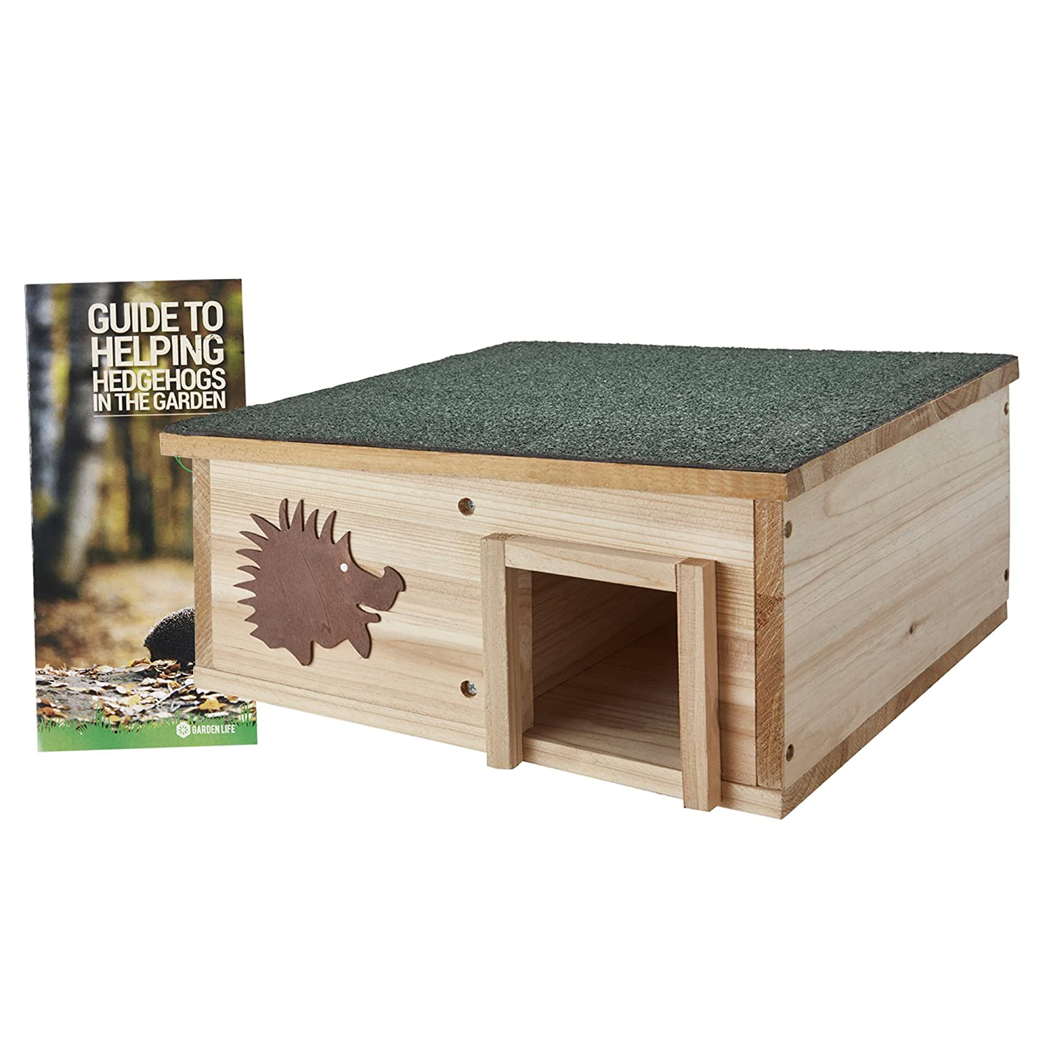 Clifford James Hedgehog House Wooden Garden Nature Hibernation Box with Waterproof Pitched Roof