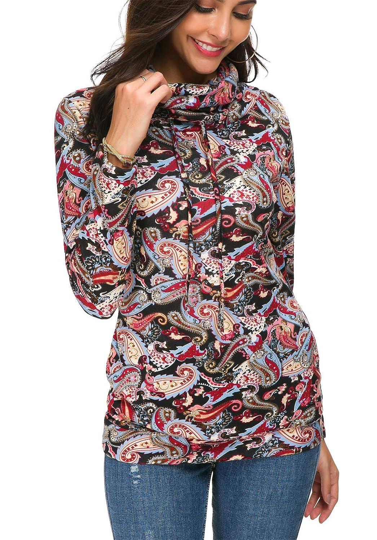 KorMei Womens Sweatshirt Cowl Neck Pullover Drawstring Long Sleeve Tunic Tops with Pockets