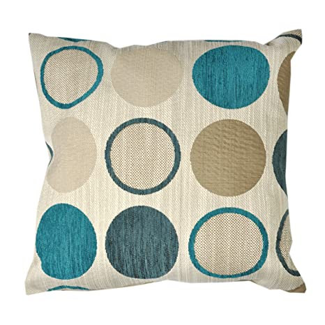 Amazon.com: Chenille Spot Cushion Cover? Circle Beige Azul ...