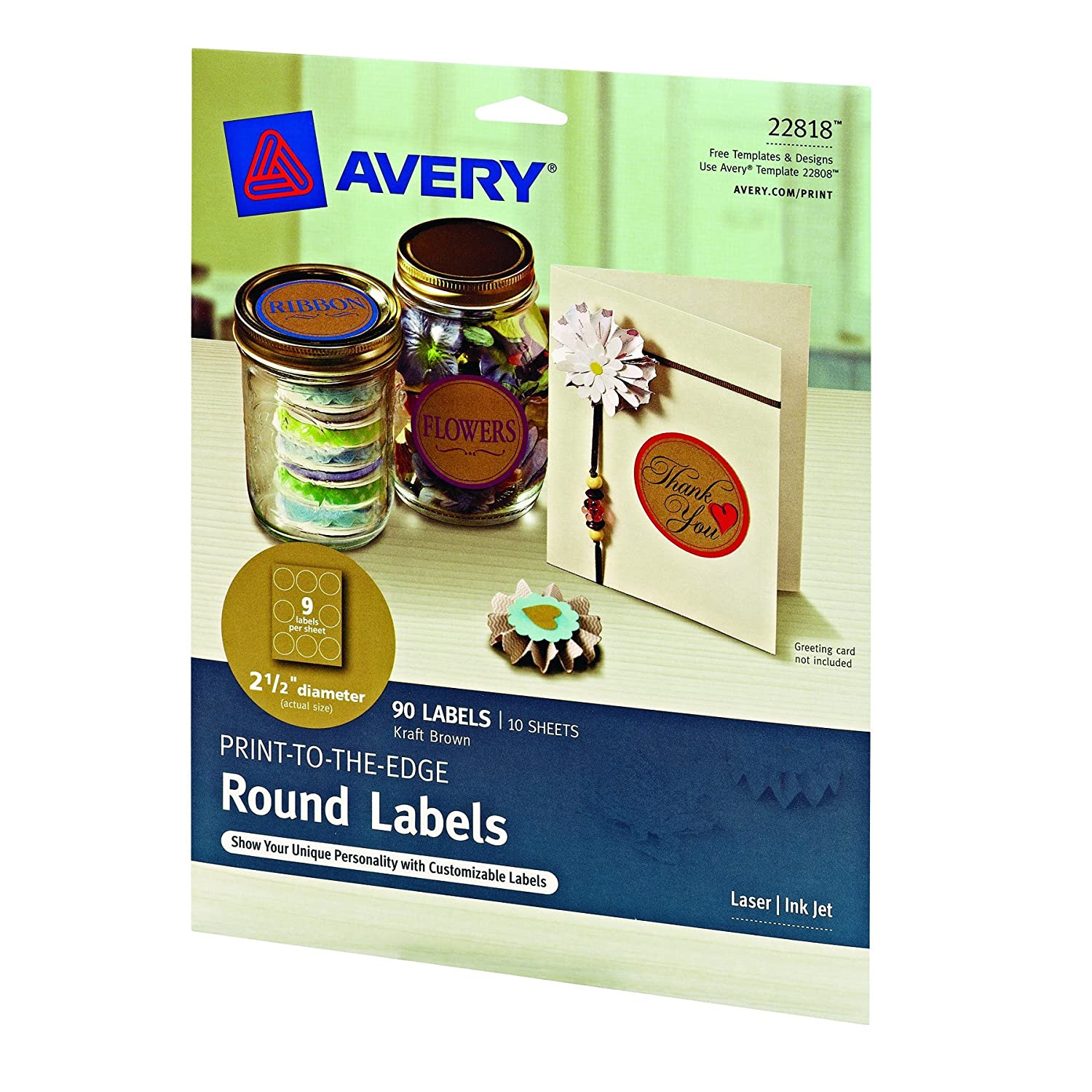 Amazon Avery Print To The Edge Round Labels Kraft Brown 2 1