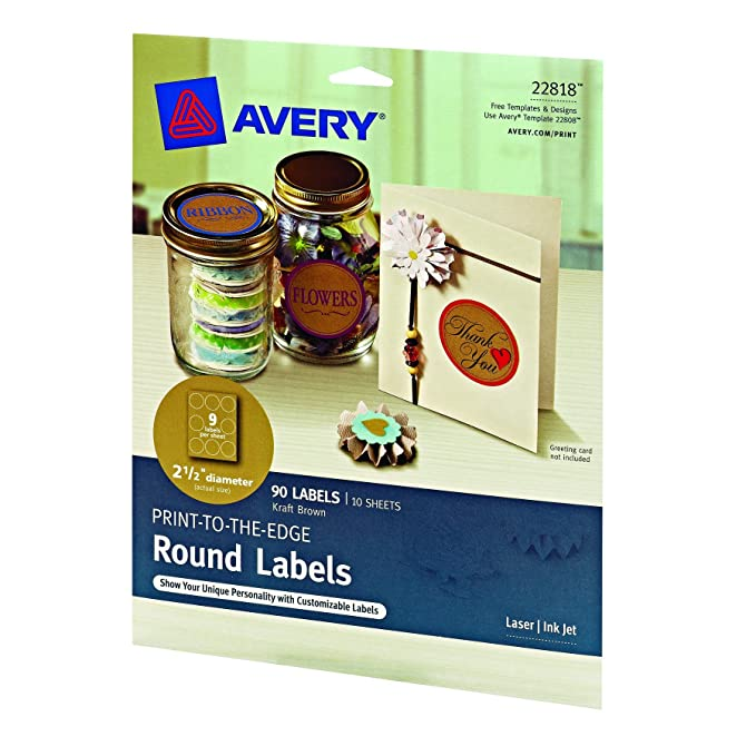 Amazon Avery Print To The Edge Round Labels Kraft Brown 2 1
