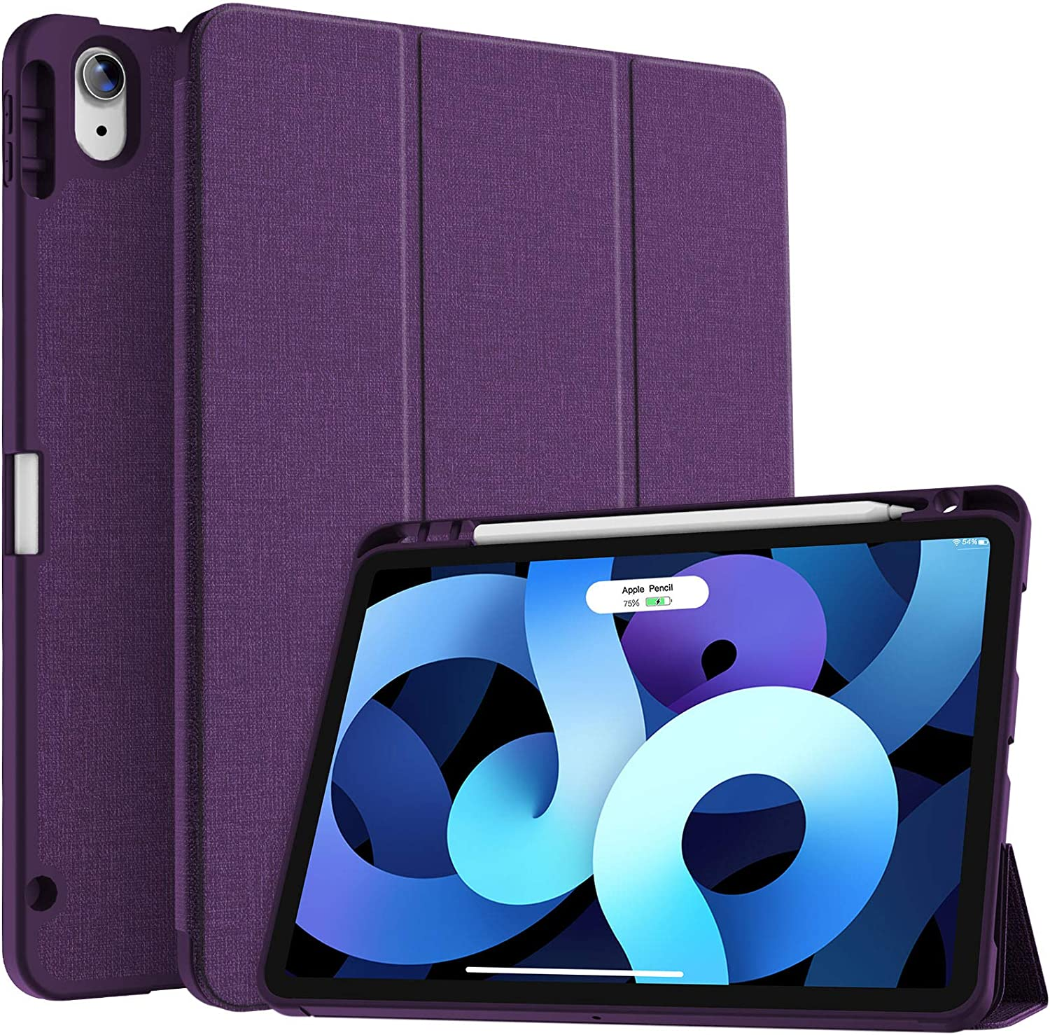 Soke iPad Air 4 Case 10.9 Inch 2020 with Pencil Holder - [Full Body Protection + Apple Pencil Charging+ Auto Sleep/Wake], Soft TPU Back Cover for 2020 New iPad Air 4th Generation,Purple