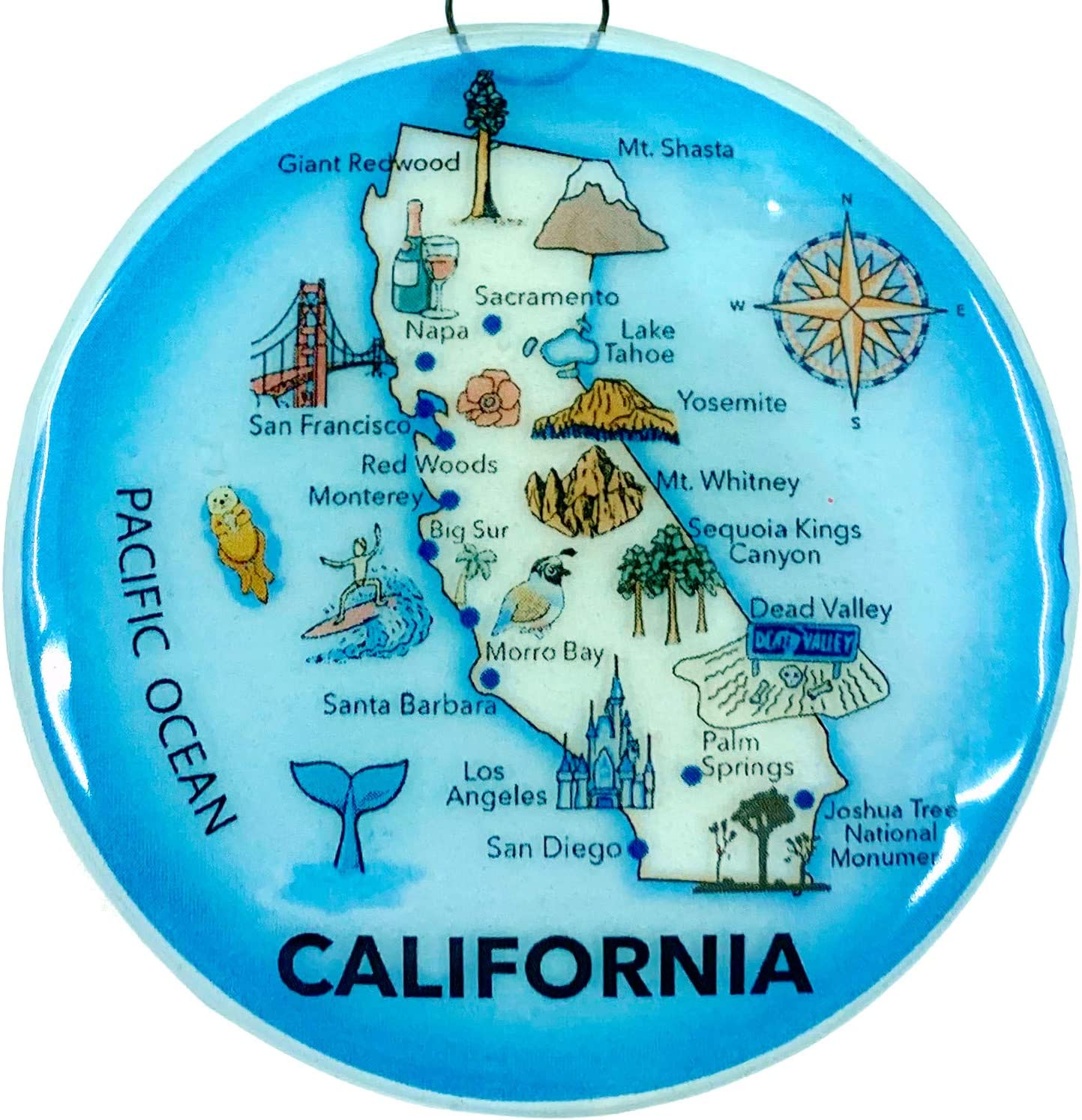 Ruth's Ethical Goods California Map Christmas Tree Ornament - Art Glass Light Catcher