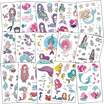 SZSMART Tatuajes Temporales Sirena Niñas Tatuajes Falso Sirena Pegatinas para Niños Infantiles Regalo para Fiesta de Cumpleaños Bolsas Relleno Piñata