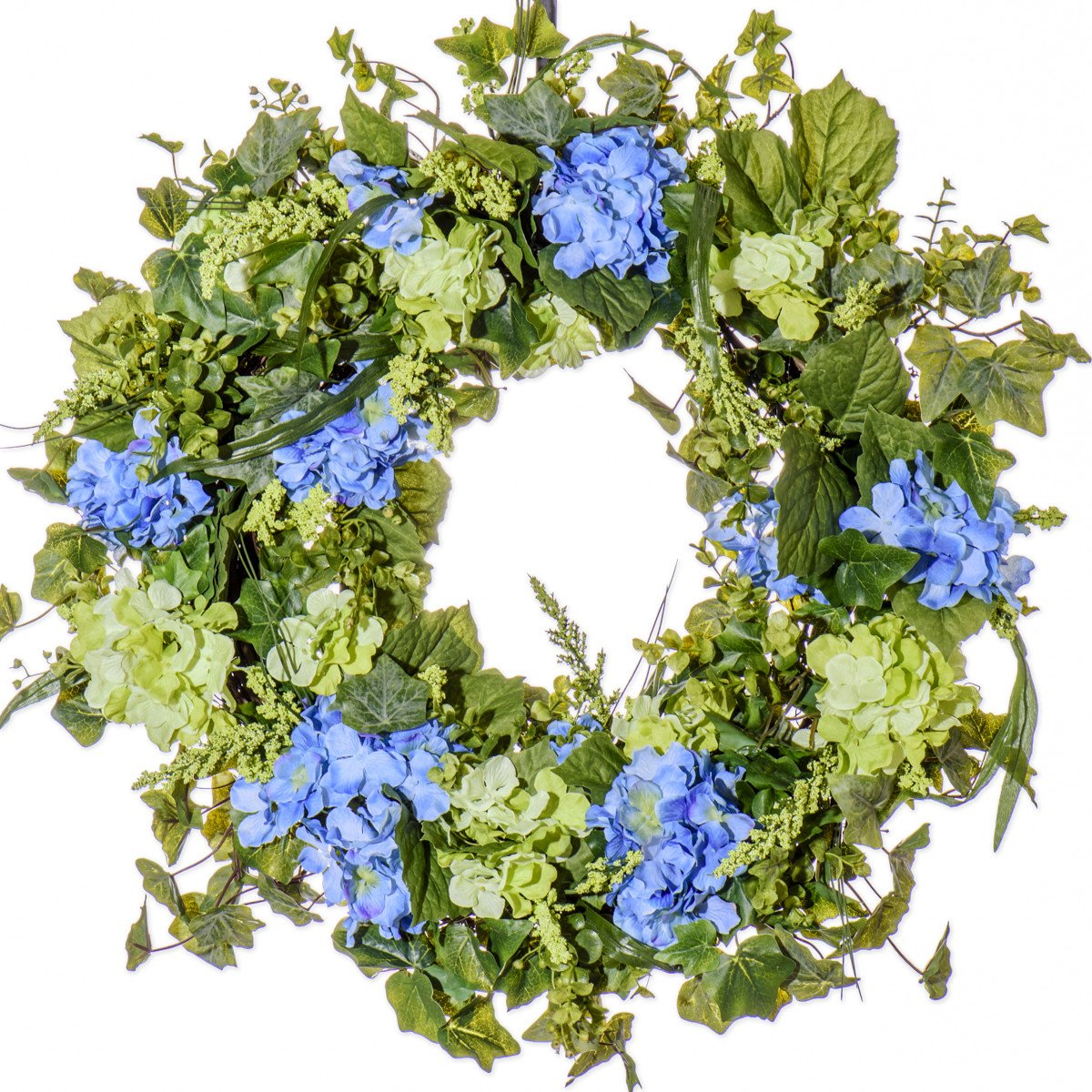 BLUE & GREEN HYDRANGEA WREATH (SW912) (26 inch)
