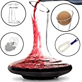 BTaT- Decanter with Drying Stand, Stopper, Brush and Beads, Hand Blown 100% Lead Free Crystal Glass, Wine Decanter, Wine Carafe, Wine Accessories, Red Wine Decanter, Wine Gift